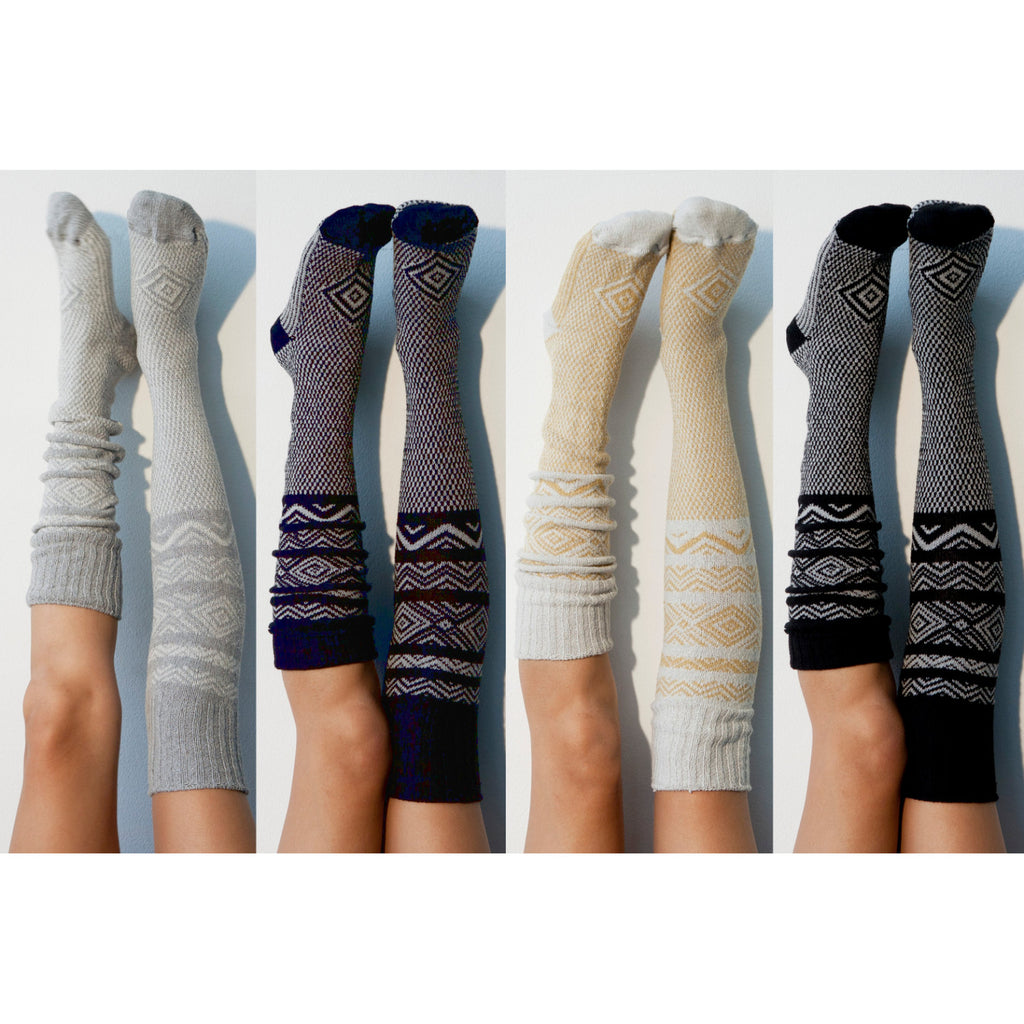 Bridesmaid Gift Knee High Socks- Pack of 4 Womens Boot Socks, Grey, Navy, Ivory, and Black, Over the Knee Knit Socks Lingerie PM4PK-083BNGI
