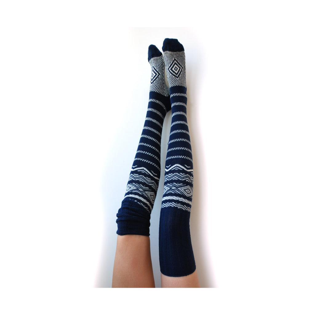 Navy Thigh High Socks 4th of July Clothing Red White and Blue Nautical Anchors Aweigh Cute Pinup Lingerie Scandinavian FairIsle Knit PM-081N