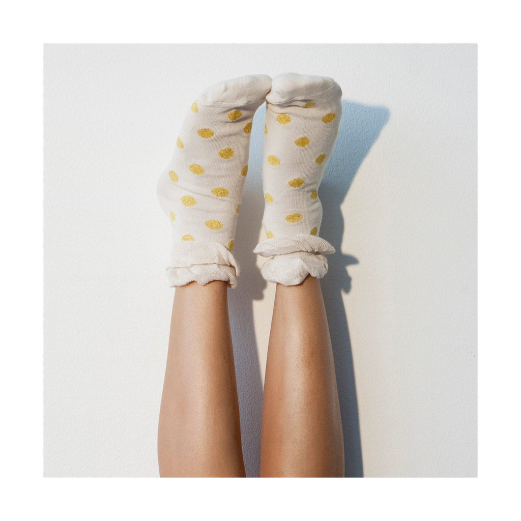 Glitter Polka Dot Socks Gold Off White Gift for Her Pinup Lingerie Kawaii Fairy Kei Alternative Clothing Cute Lace Ruffle Pattern PM-060