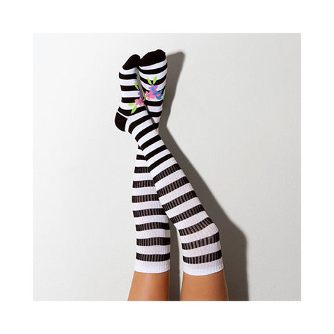 French Stripe Knee High Patterned Socks, Lingerie Unique Gift PM-120