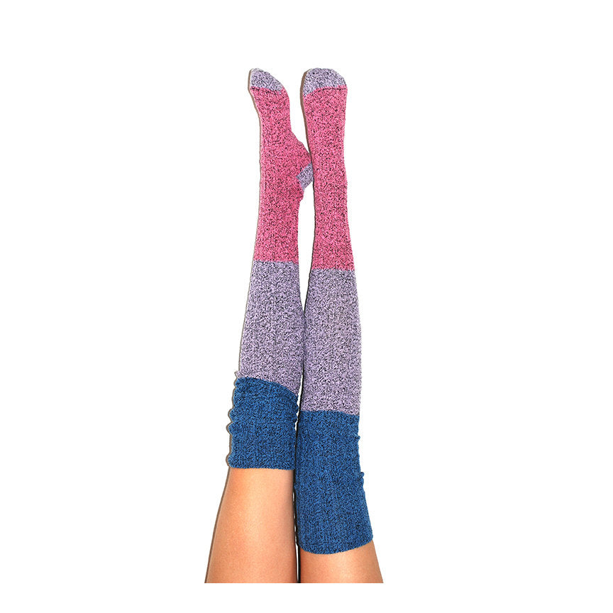 Thigh High Socks, Stripe Sweater Socks, Women's Long Over the Knee Socks, Knitted Boot Socks, OTK Thigh Highs, Stockings, PM-088DDRS