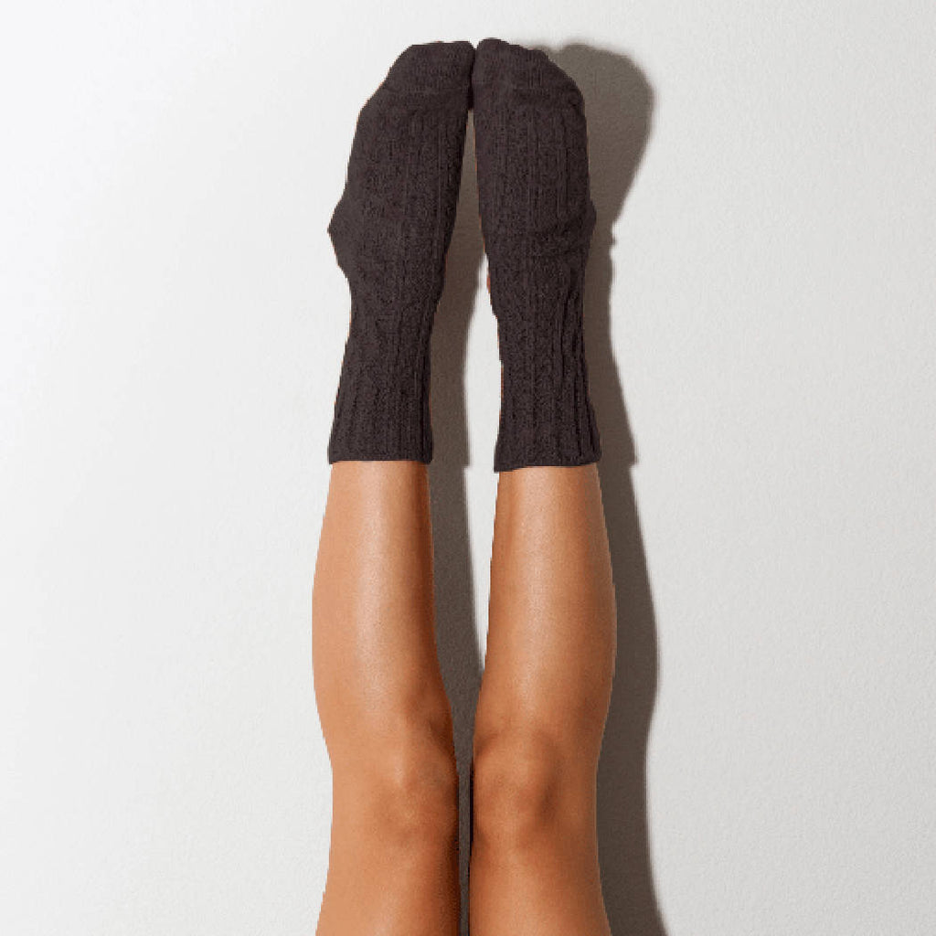 Carbon Marled Cable Knit Crew Socks, Lingerie Unique Gifts PM-501CA