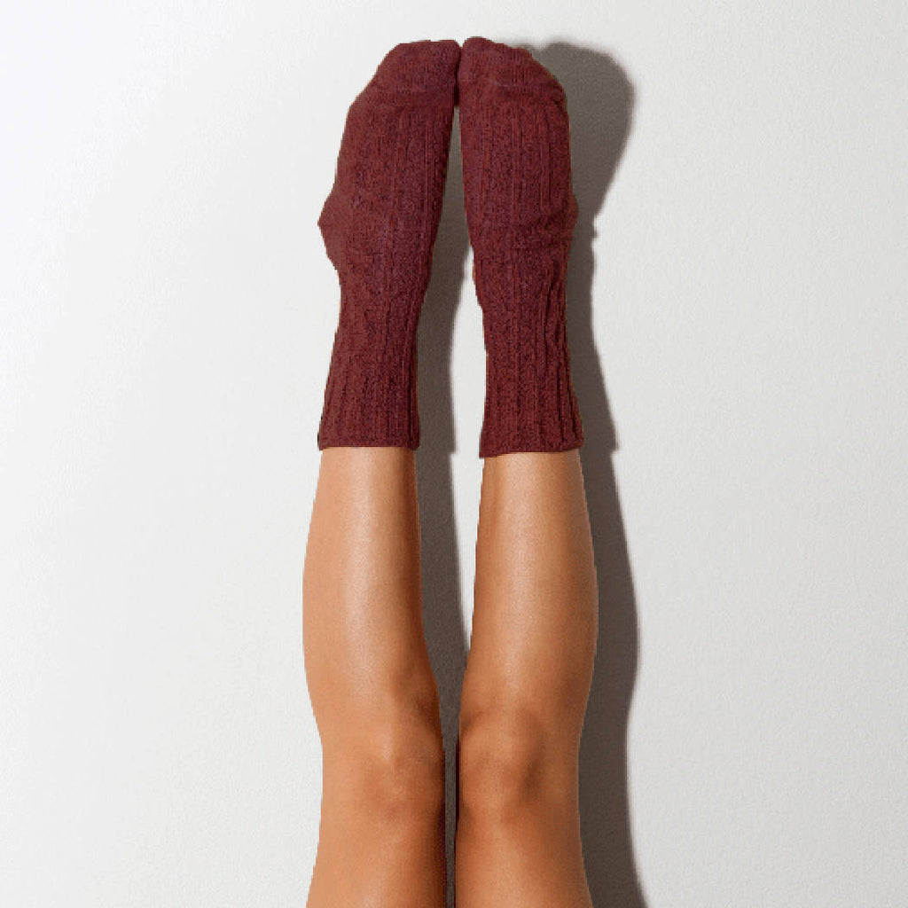 Wine Marled Cable Knit Crew Socks, Lingerie Unique Gifts Lingerie Unique Gifts PM-501W