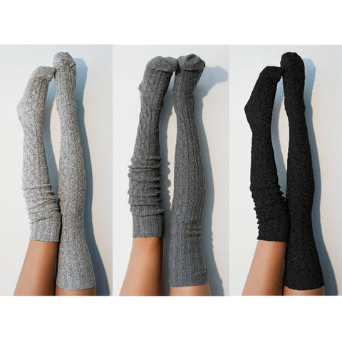 Thigh High Socks- Set of 3 Womens Boot Socks, Salt 'N Pepper Grey, Charcoal Grey, Jet Black, Warm Long Over the Knee Knit Socks PM3PK-088SCK