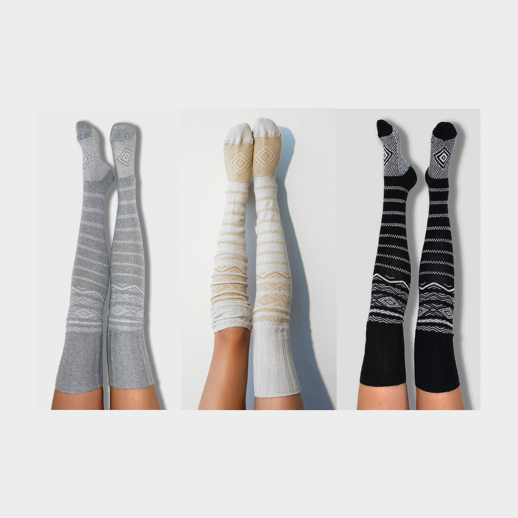 Bridesmaid Gift Thigh High Socks- Pack of 3 Womens Boot Socks, Grey, Ivory, Black, Scandinavian Patterned, Over the Knee Knit PM3PK-081GIB