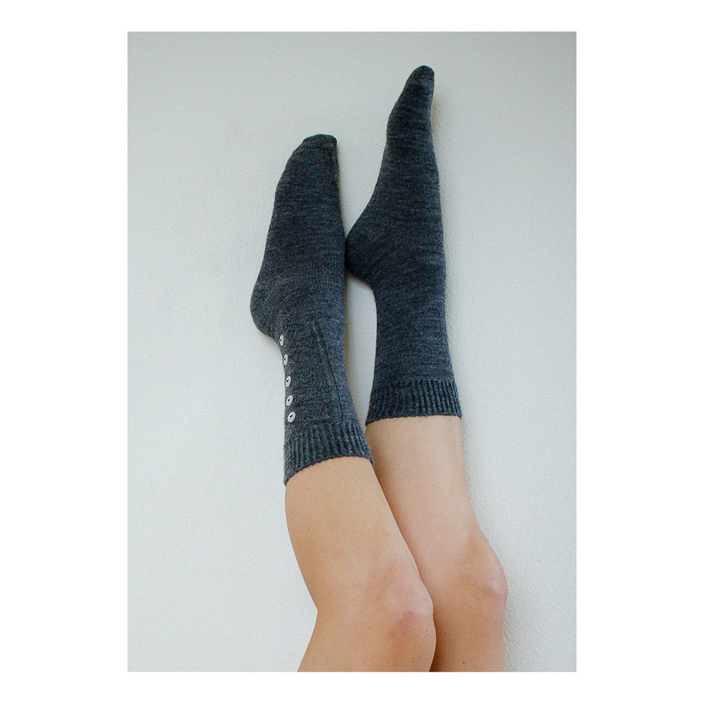 Alpaca Wool Socks with Button Trim,  -  Lingerie Unique Gifts for Her, Valentines Day Present, Grey PM-159G, Cocoa PM-159C, or Black PM-159K