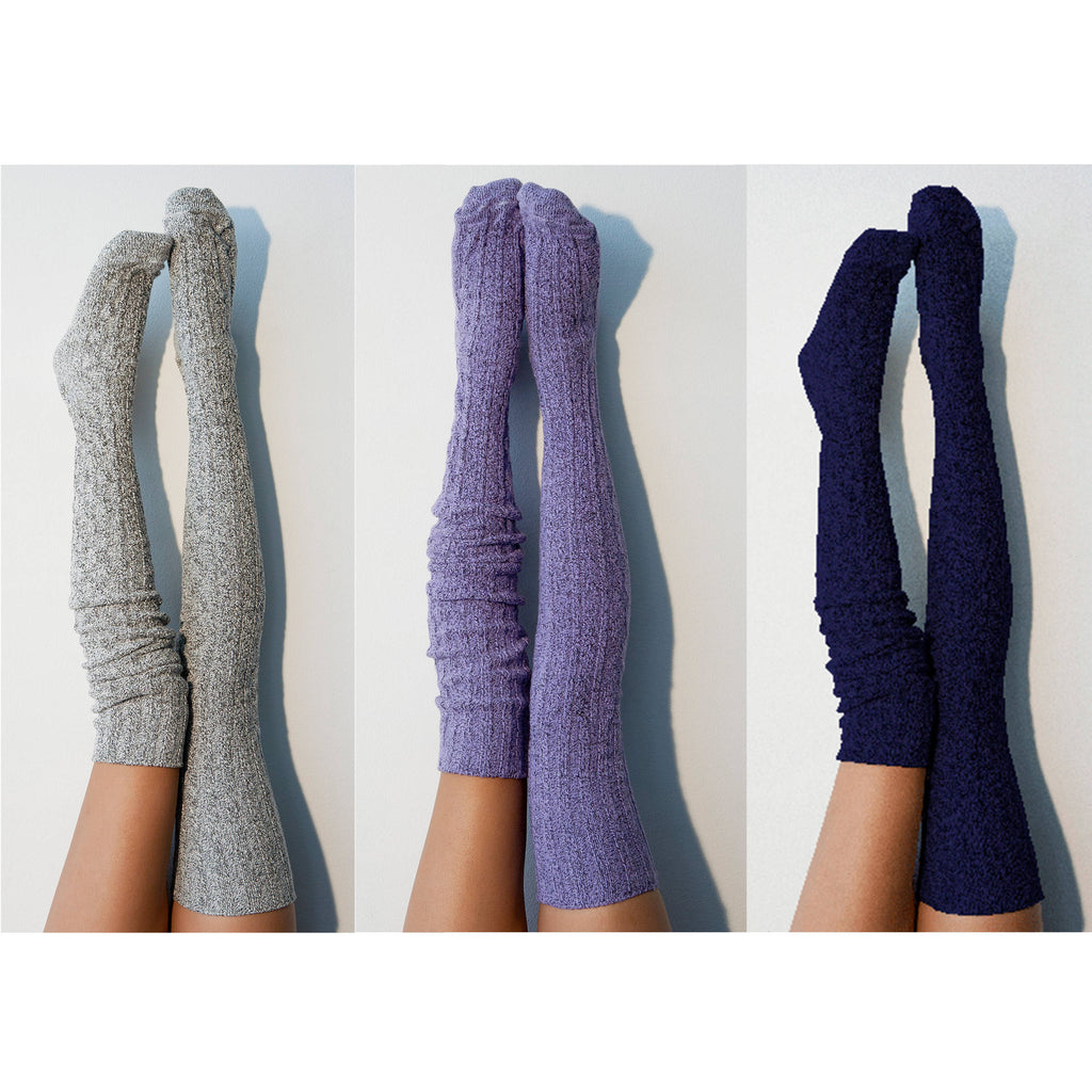 Bridesmaid Gift Thigh High Socks- Pack of 3 Womens Boot Socks, Salt 'N Pepper Grey, Purple, Marine Navy, Long Over the Knee PM3PK-088SON