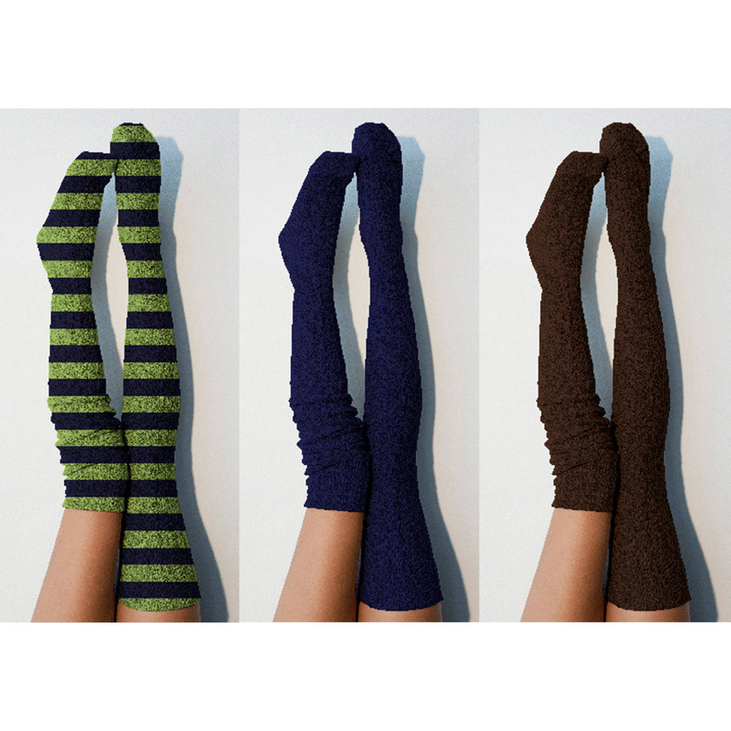 Thigh High Socks- Multi Pack of 3 Womens Boot Socks, Spirit Blue and Green, Marine Navy, Coffee Brown Long Over the Knee Knit PM3PK-088SPNBR