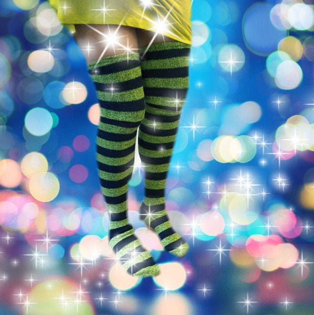 Wicked Witch Socks, Pippy Longstocking Halloween Costume, Striped Long Socks Navy Blue and Green, Seahawks Dancer Cheerleader, PM-088SP