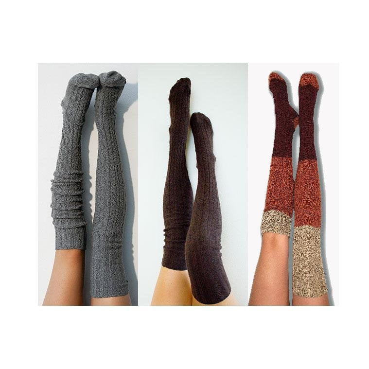 Thigh High Socks Charcoal Brown Dip Dye Wine PM3PK-088CBRDDW