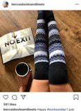 Spring Gift for Her Easter Mom Sister Daughter Wife Friend Birthday Anniversary Thigh High Socks Black Striped Womens Long Knee PM-132