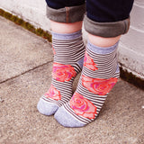 Striped Floral Socks, Flower Design, Wedding Party Unique Gift, Teen Flower Girl, For Her Pink Grey Glitter Silver Bridal Accessories PM-063