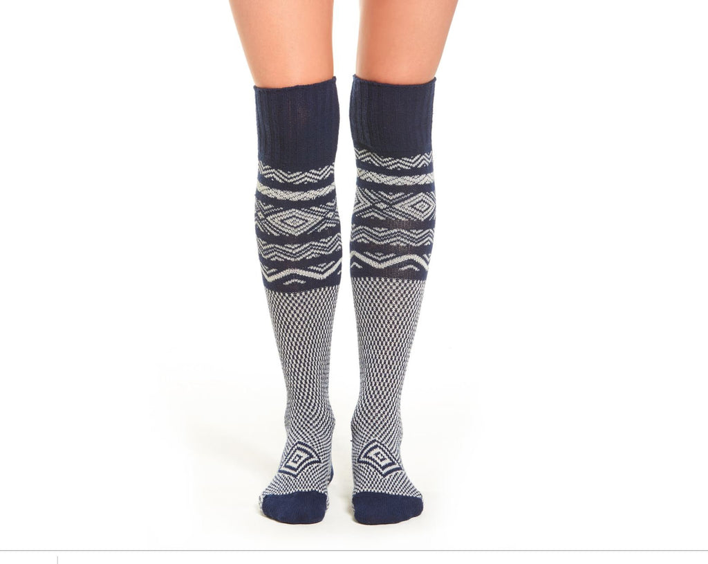 Navy Knee High Socks, Blue Nautical Vintage Fashion Design for Women Anchors Aweigh Away American Style Blue and White PM-083N
