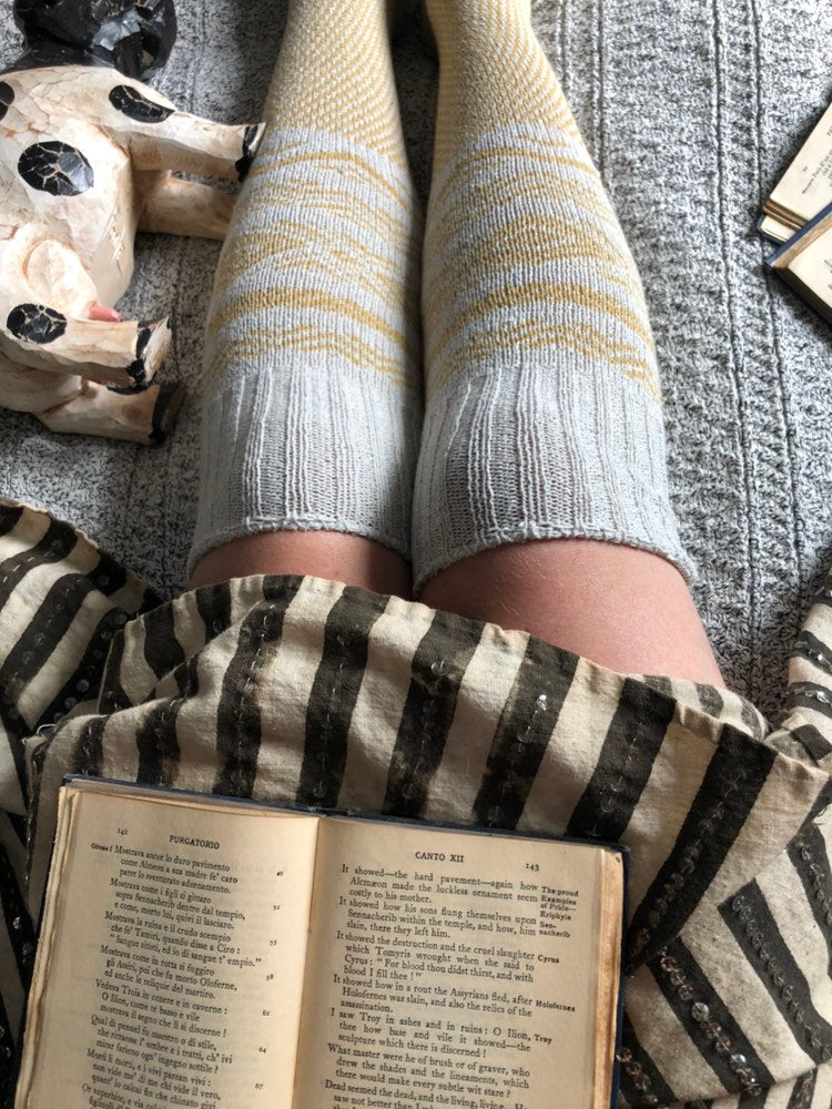 Knee High Socks, Ivory and Mustard Scandinavian Pattern, Knitted Warm Boot Socks, Bookstagram Gift, Girlfriend Gift Pinup Lingerie PM-081I