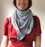 Knit Shawl, Triangular Cotton Chunky Knitted Wrap, Scarf, White Shawl, Warm Fall Shawl, Eco Recycled Cotton, Knitting Gift for Her PM-703C