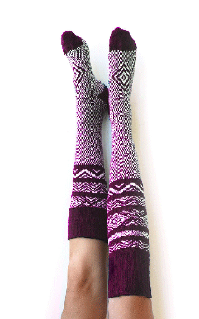 Knee High Sock, Long Knit Woman Boot Sock - Scandinavian Wine, Lingerie Unique Gifts Lingerie Unique Gifts PM-083W