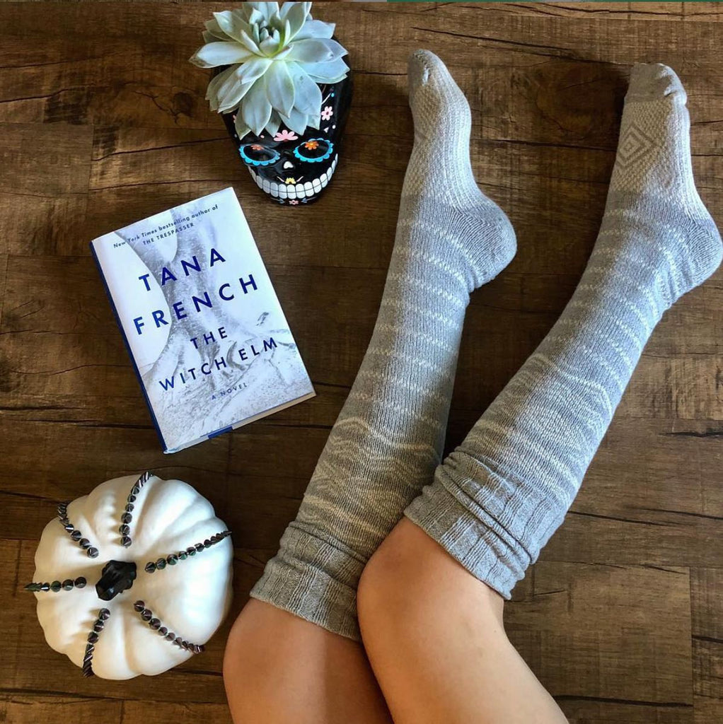 Thigh High Socks, Grey Sweater Socks, Women's Long Over the Knee Socks, Gift for Her, Cotton Knitted Boot Socks, Thigh Highs, Gift PM-081G
