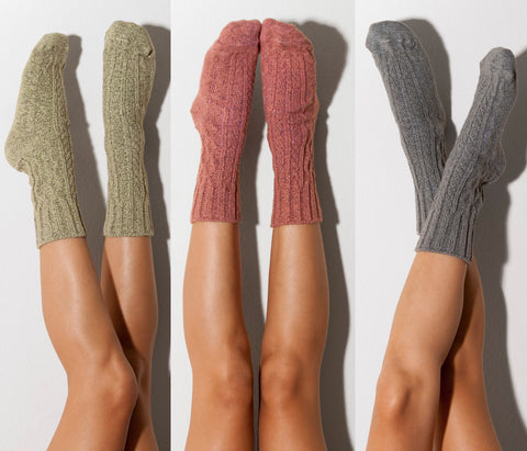 Unique Gift, Christmas Gift, Christmas Stockings, Mom Gift, Cable Knit Crew Socks PM3PK-501HMC