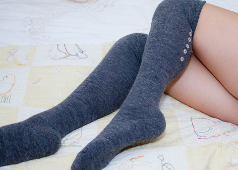 Thigh High Socks, Grey Alpaca Wool Socks with Buttons, Women's Long Over Knee Socks, Soft Knitted Tall Boot Socks, OTK Thigh Highs, PM-162G