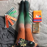Thigh High Socks, Green Orange Ombré Dip Dye Socks, Cyber Monday Sale, Anne of Green Gables Socks