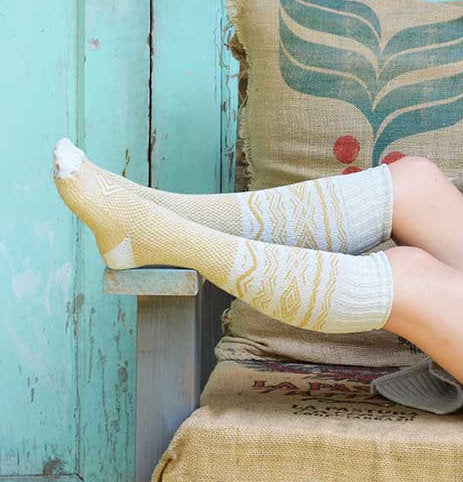 Hiking Gifts Knee High Socks Womens Long Knit Boot Sock Made in USA Vintage Design Cotton Birthday Gift for Her Stockings Off White PM-083I