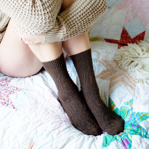 Alpaca Cabled Crew Socks - Cocoa Brown Wool Socks, Gift For Her, Natural Fibers, Lingerie Unique Gifts, Peony and Moss, Soft Knitted PM-160C
