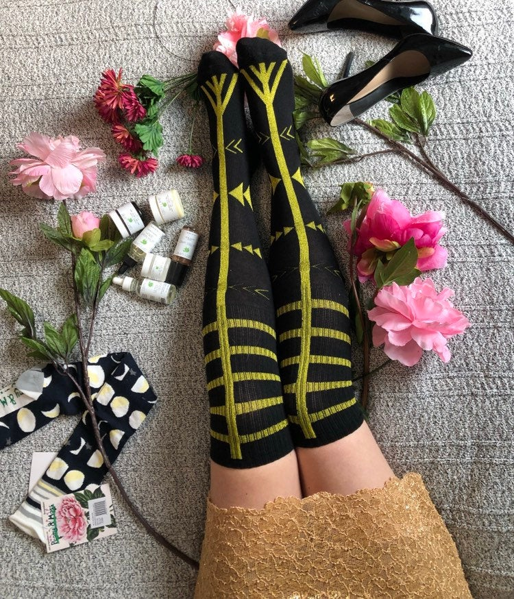 Gold Knee Socks, Boho Gift, Festival Accessories, Free Spirit Fashion Finds, Burning Man Tattoo Black Goth Gladiator Sandals Metallic PM-115