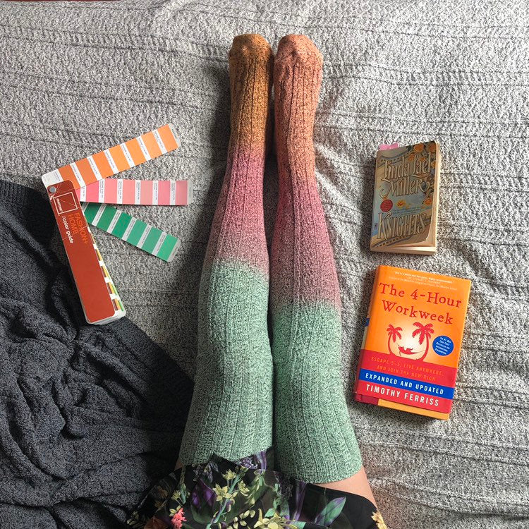 Thigh High Socks, Green Orange Ombré Dip Dye Socks, Cyber Monday Sale, Anne of Green Gables Socks PM-088UO