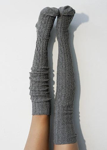 Thigh High Socks, Charcoal Grey Sweater Socks, Women's Long Over the Knee Socks, Knitted Boot Socks Lingerie Unique Gifts Sexy Gift PM-088C