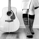 Black Knee High Socks Scandinavian Pattern, Lingerie Unique Gifts, Long Knit Woman Boot Sock PM-083B