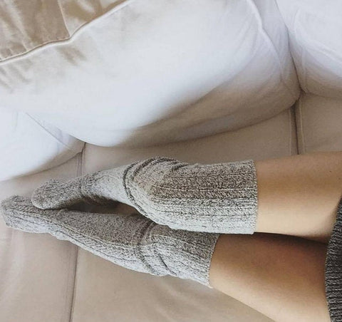 Salt N Pepper Marled Cable Knit Thigh High High Socks -PM-088S