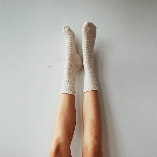 Ivory Basic Socks, White Crew Socks, Everyday Socks, Soft Comfy Socks, Knitted Socks, Cotton Womens Socks, Neutral Minimalist Socks PM-092I