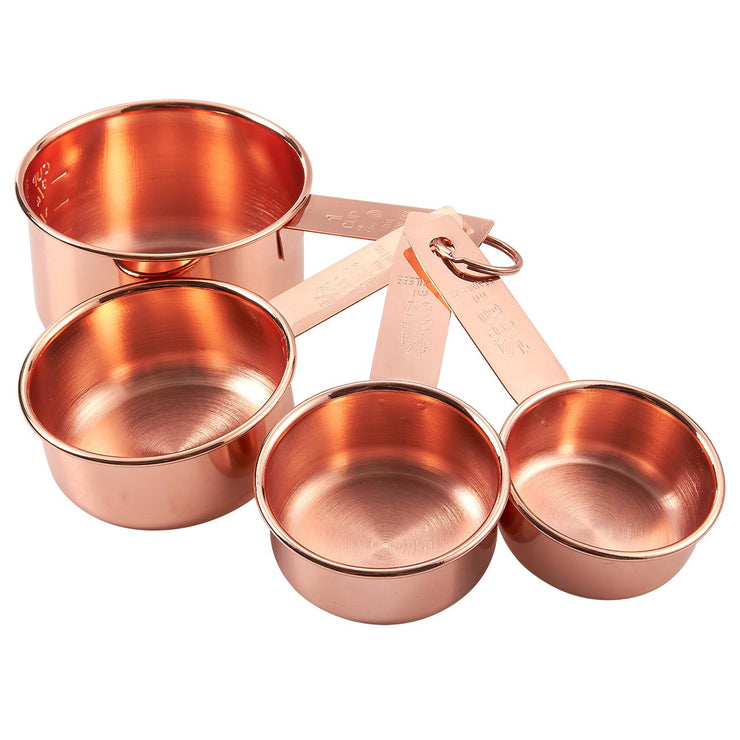 Copper-Plated Metal Measuring Cups