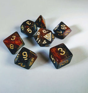 Ancient Amber Galaxy Dice Set-Dice-Dice and Counters-Dice and Counters
