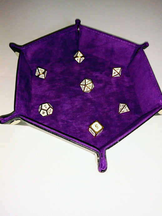 Velvet Hexagonal Dice Tray-Accessory-Dice and Counters-Purple-Dice and Counters