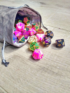 Large Dice Bag-Accessory-Dice and Counters-Grey-Dice and Counters