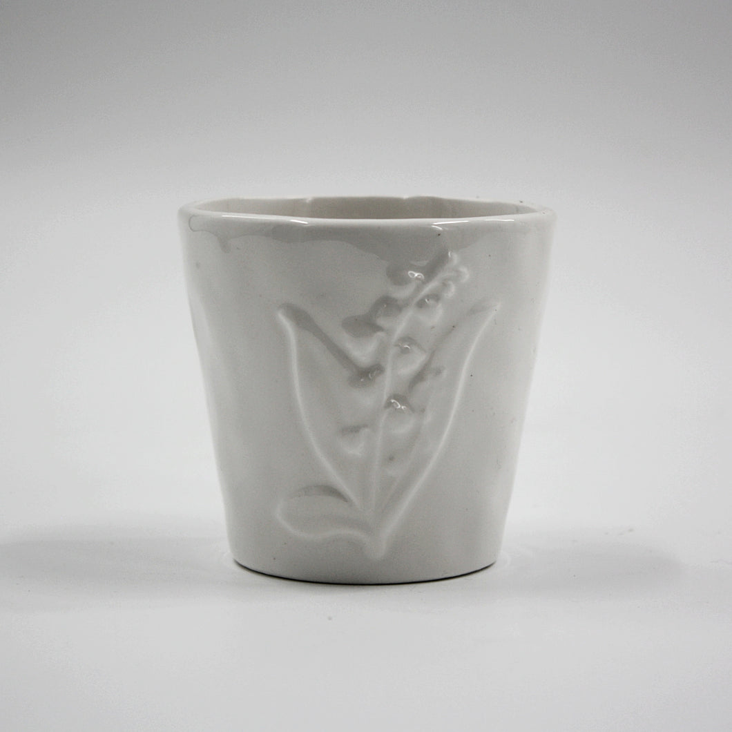 White Floral Embossed Planter