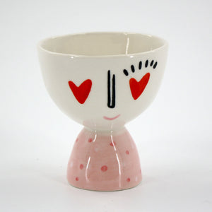 Footed Bowl Planter with Heart Eyes