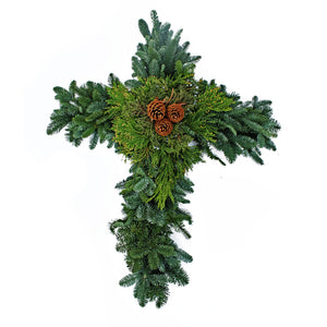 Cross Wreath Evergreen Mix 16""