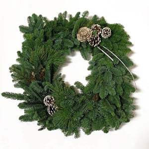 Square Live Greens Christmas Wreath 12""