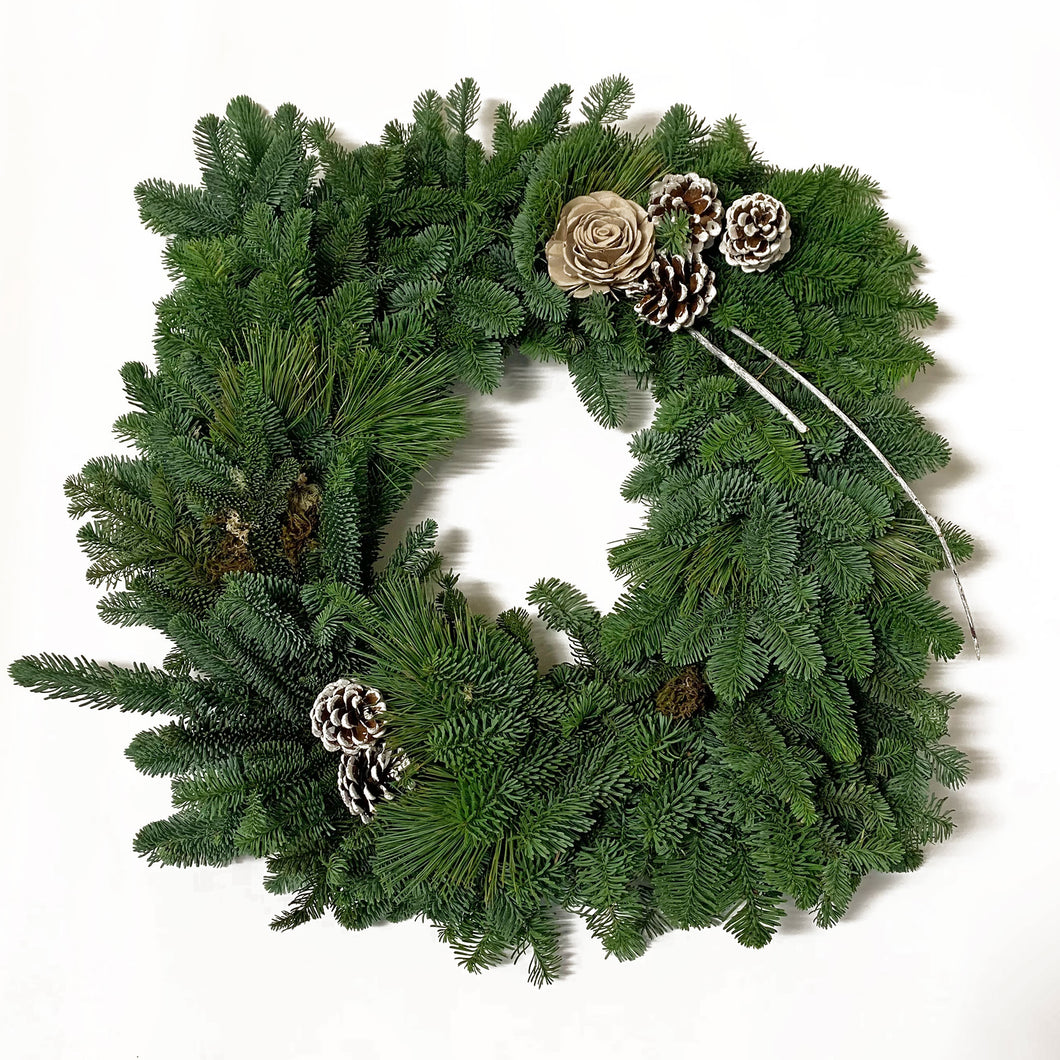 Square Live Greens Christmas Wreath 12
