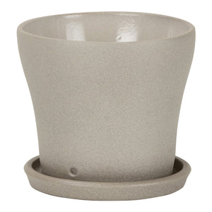 Taupe Stone Planter with Saucer