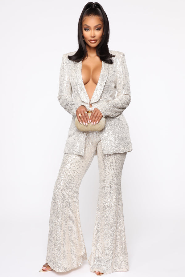 Party's Here Sequin Pant Set - Silver