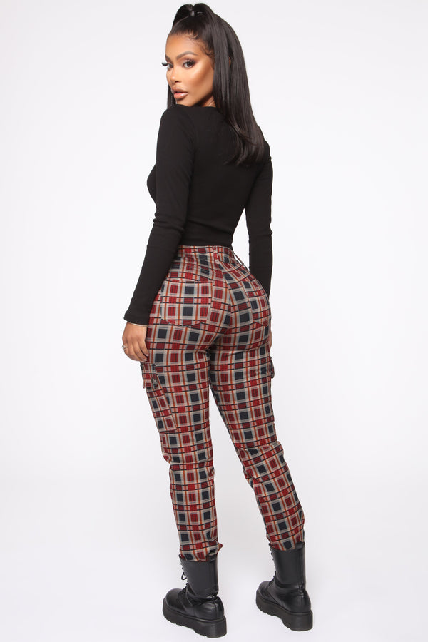 Left You On Read Plaid Pants - Red Combo