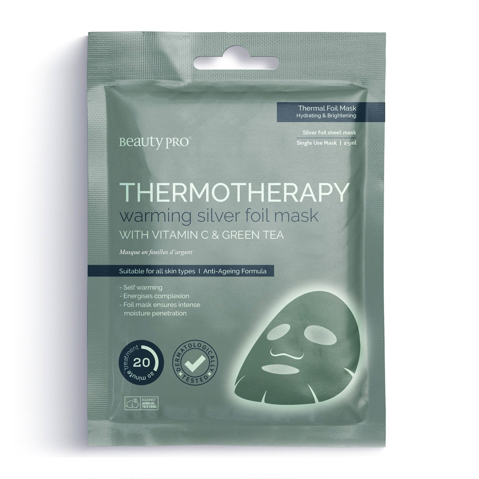 BeautyPro THERMOTHERAPY Warming Silver Foil Mask with Vitamin C & Green Tea 25ml