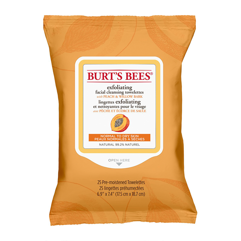 Burt's Bees® Facial Cleansing Towelettes with Peach & Willow Bark x 25