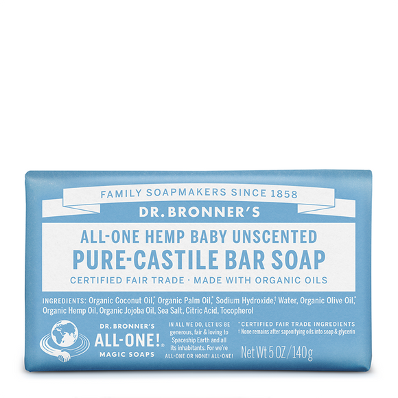 Dr Bronner's All-One Baby Unscented Pure-Castile Bar Soap 140g