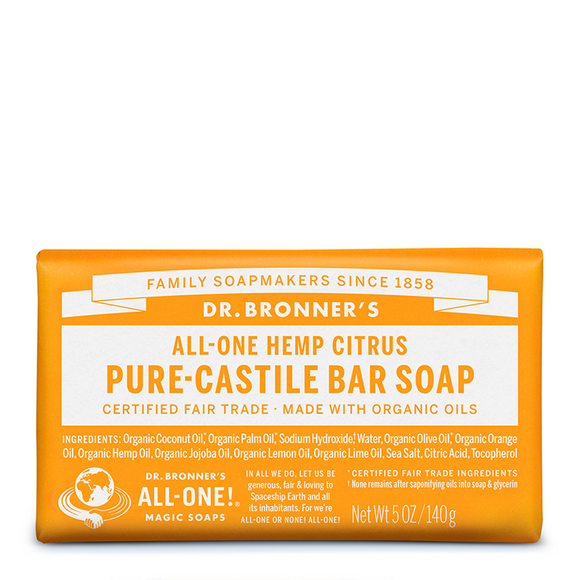 Dr Bronner's All-One Hemp Citrus Pure-Castile Orange Bar Soap 140g