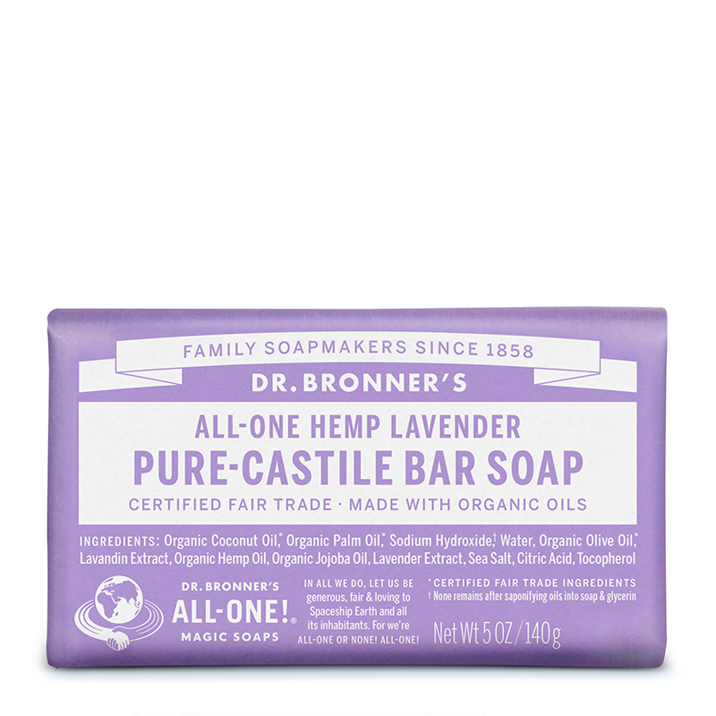 Dr Bronner's All-One Hemp Lavender Pure-Castile Bar Soap 140g