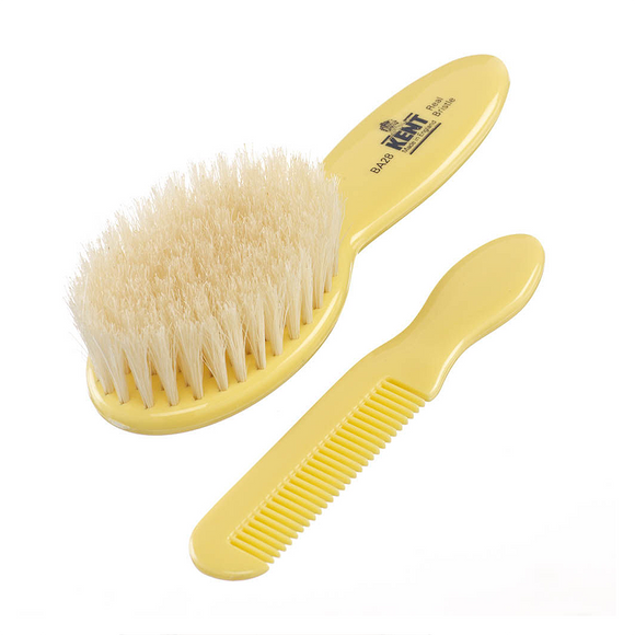 Kent Baby Supersoft White Bristle Brush & Comb Set - BA28